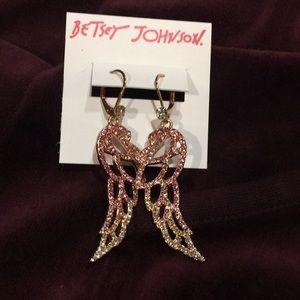 Pink Ombre Stones Angel Wings Drop Earrings